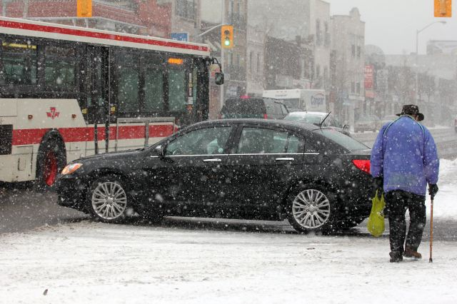 Winter driving on the Danforth, Toronto.