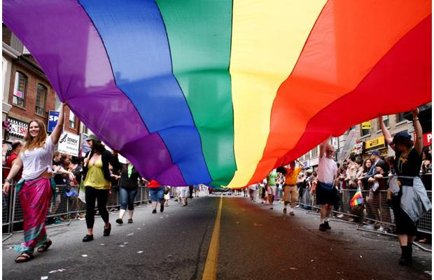 gay pride parade rainbow banner