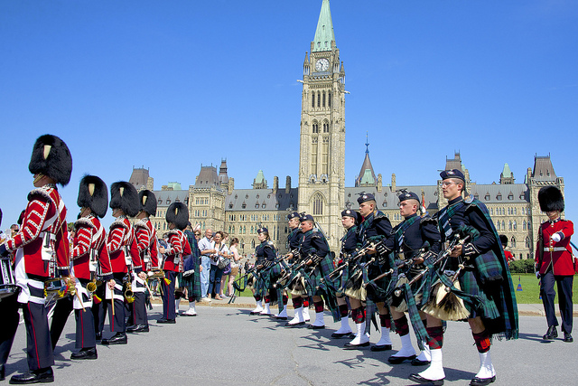 Canadian Armed Forces in front of the Parliament Buildings