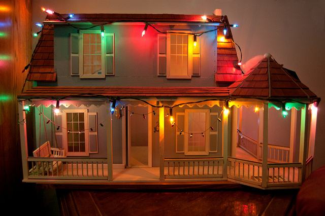 Christmas lights on dollhouse