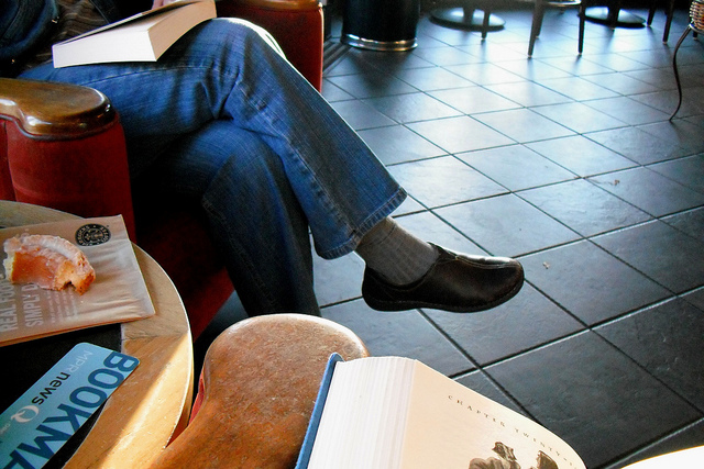 reading in a coffee shop