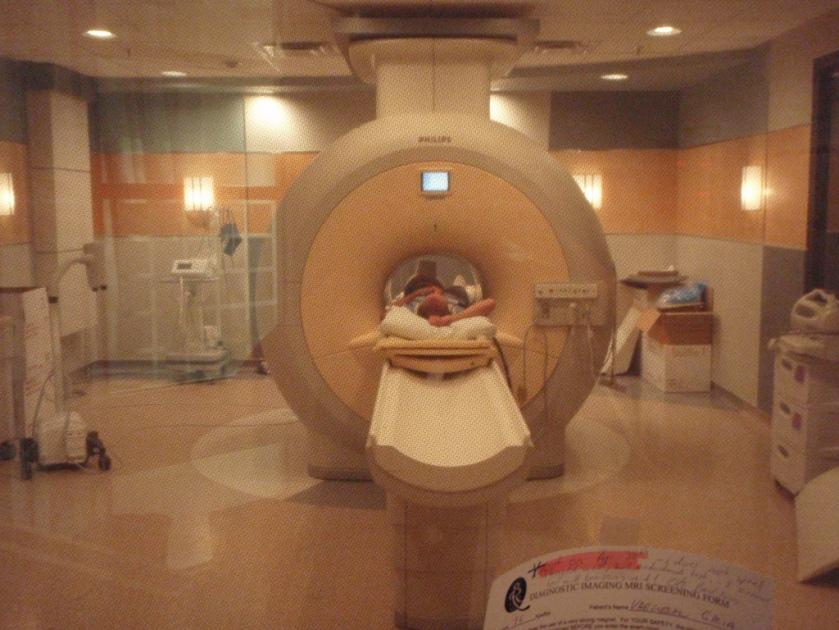 person in MRI machine