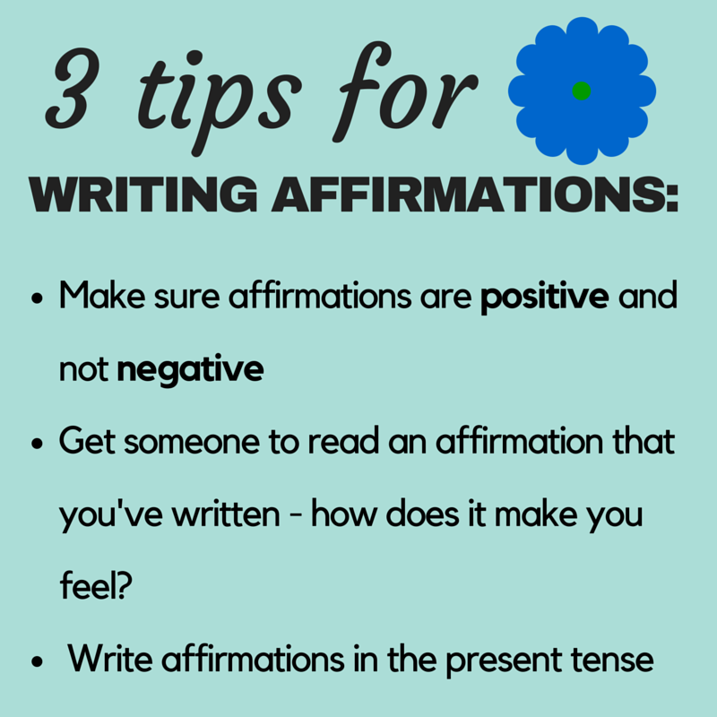 writing affirmations Writing one-sentence affirmations was a lot like writing poetry eventually, my grief journal became a book and my publisher used the affirmations in a companion calendar and journal the affirmations were, and continue to be, timeless.