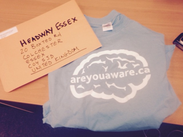 BIST areyouaware t-shirt and envelop to Headway