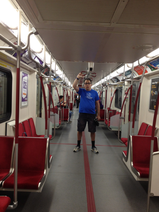 Rob Ashe takes the subway in Toronto