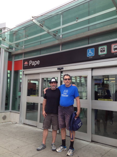 Rob and David Smith, mentor's coordinator at CHIRS in front of Pape subway station