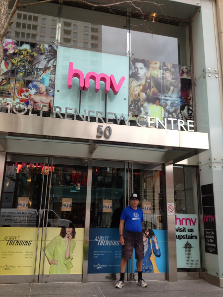 Rob in front of the HMV store on Yonge Street