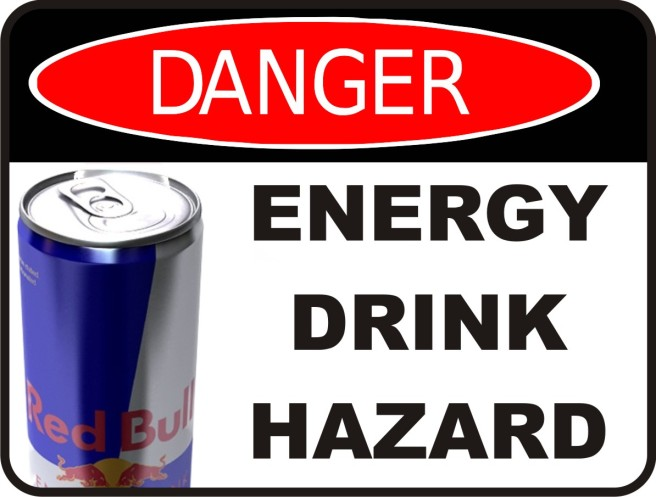 Danger: energy drink harzard sign