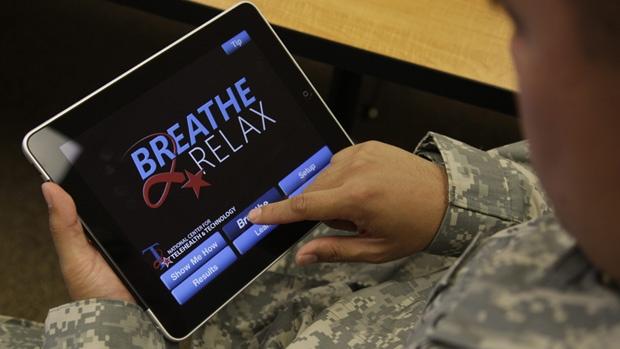 veteran using iPad app to relax