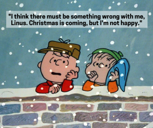Charlie Brown talks to Linus about being sad at Christmas