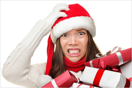 woman in Santa Claus hat looked stressed out