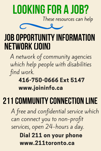 Call 211 or the Job Opportunity Information Network for help finding work