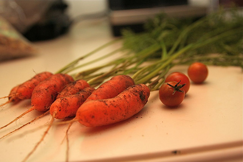 carrots and tomatoes from a garden