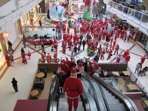 Santas in a mall