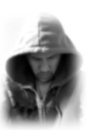 Mark Koning in a hoodie, looking down