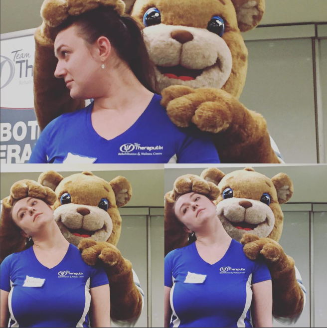Team Therapeutix Therapy Bear shows physiotherapy treatment on owner Victoria Tolmatshov