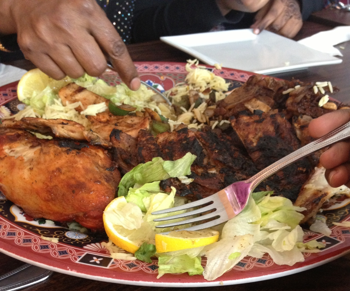 Close up of a plate of food served at Eid