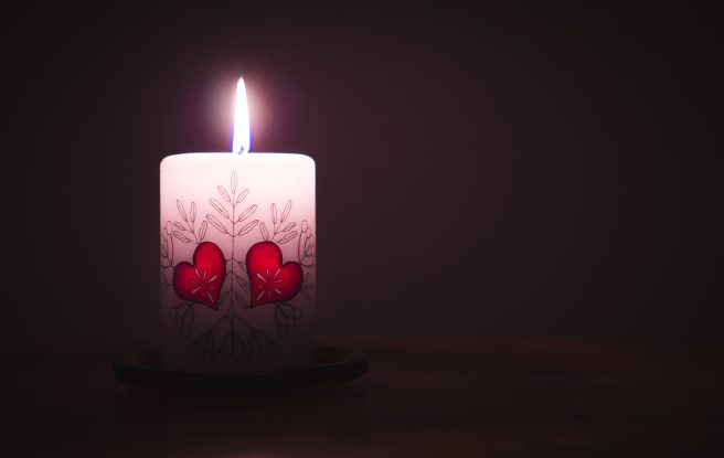 a candle burns