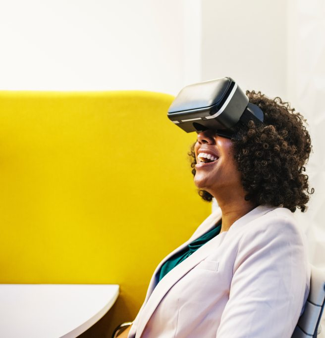 women wearing Virtual Reality Device