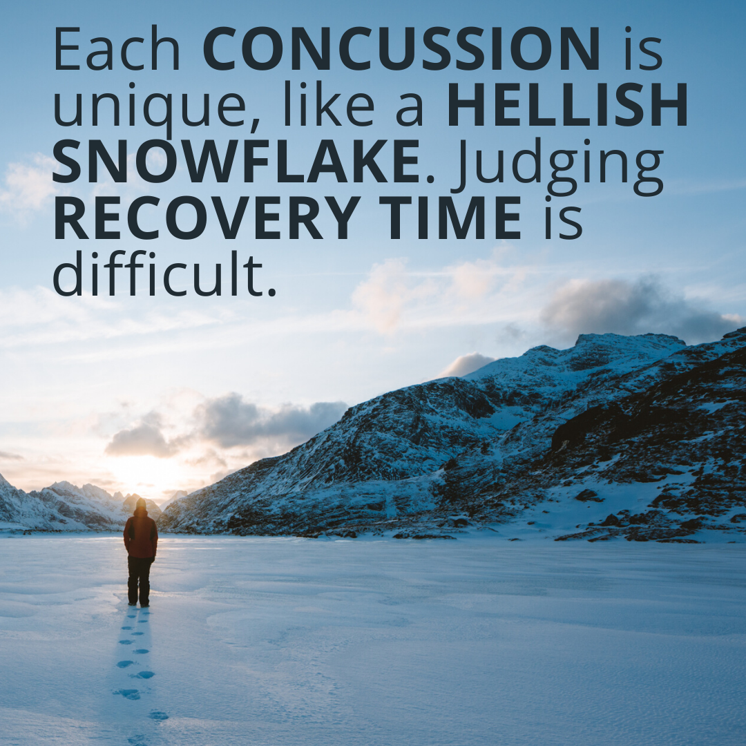 Each concussion is unique, like a hellish snowflake, and judging recovery time is difficult, even for specialists.-4